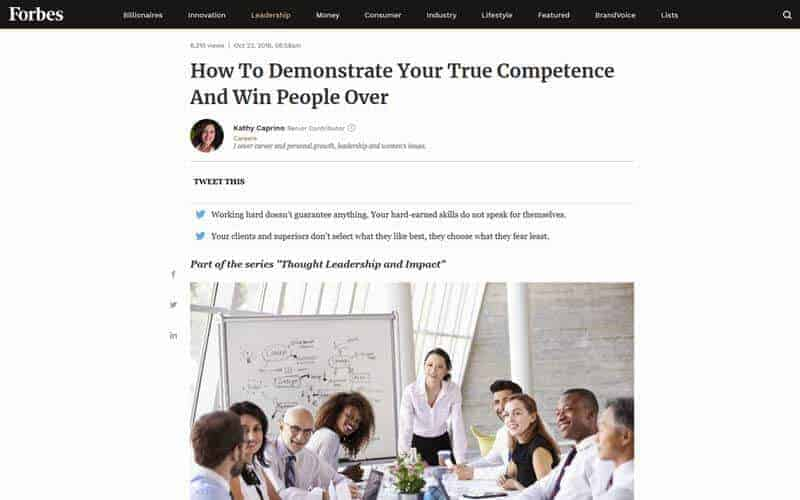 How To Demonstrate Your True Competence And Win People Over (Forbes)